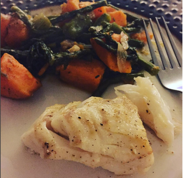 Dinner is typically a nice piece of fish and lots of veggies… maybe some carbs because sweet potatoes go well with everything.