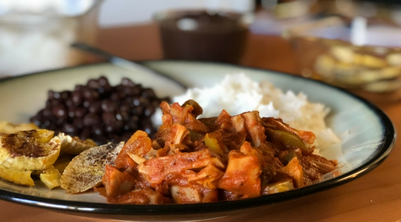Plant-Based Cuban Food? Try this Vegan Ropa Vieja with Baked Plantains and Black Beans